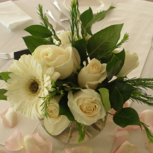 Beautiful All White Wedding Flowers