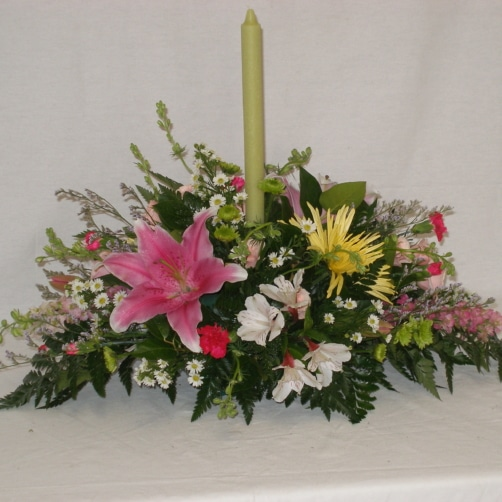 Spring Centerpiece With Candle